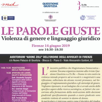 Magistratura Democratica e Dire. Incontro a Firenze su linguaggio e violenza contro le donne