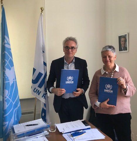 Roland Shilling, Alto rappresentante di Unhcr, e Antonella Veltri, presidente di D.i.Re firma progetto Leaving violence. Living safe